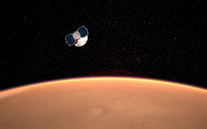 An artist's impression of the InSight spacecraft approaching Mars. Picture: Nasa