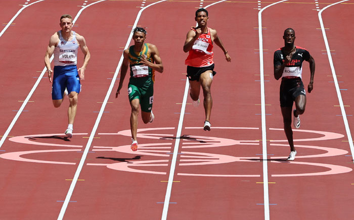 (From L) Slovakia's Jan Volko, South Africa's Shaun Maswanganyi, Japan's Abdul Hakim Sani Brown and Trinidad and Tobago's Jereem Richards compete in the men's 200m heats during the Tokyo 2020 Olympic Games at the Olympic Stadium in Tokyo on 3 August 2021. Picture: Giuseppe Cacace/AFP