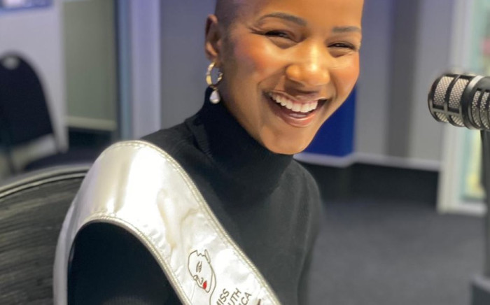 Newly-crowned Miss SA Shudufhadzo Musida in the CapeTalk studios. Picture: Sibongile Mafu
