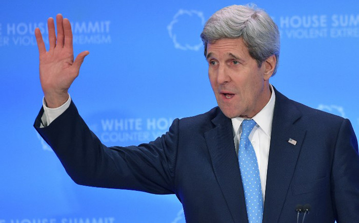 FILE: US Secretary of State John Kerry thanks delegates for their participation at the end of the White House Summit to Counter Violent Extremism at the State Department on 19 February, 2015 in Washington, DC. Picture: AFP