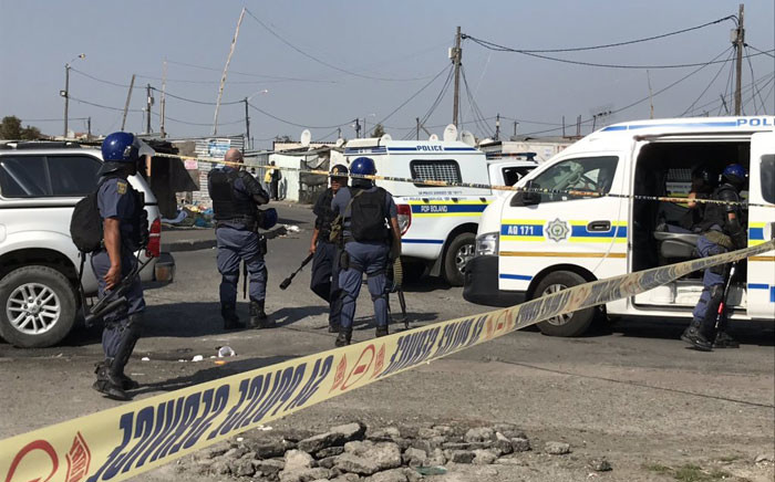 Police on scene at a protest in Samora Machel on 8 September 2019. Picture: Kevin Brandt/EWN