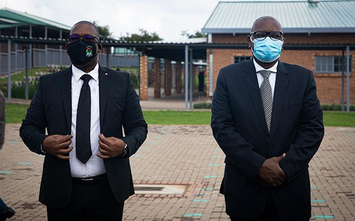 Gauteng MEC for Education Panyaza Lesufi and Gauteng Premier David Makhura at the opening of the revamped Abram Hlophe Primary School in Katlehong on 15 February 2021. Picture: Xanderleigh Dookey Makhaza/Eyewitness News