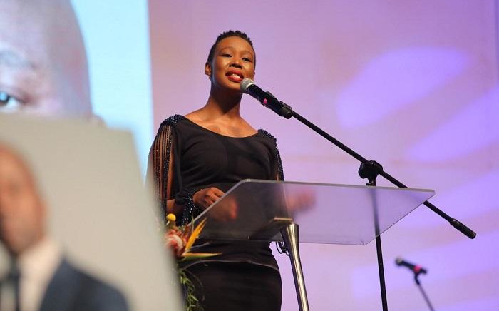 Communications Minister Stella Ndabeni-Abrahams speaking at Xolani Gwala's memorial service on Thursday, 7 November 2019. Picture: Christa Eybers/EWN