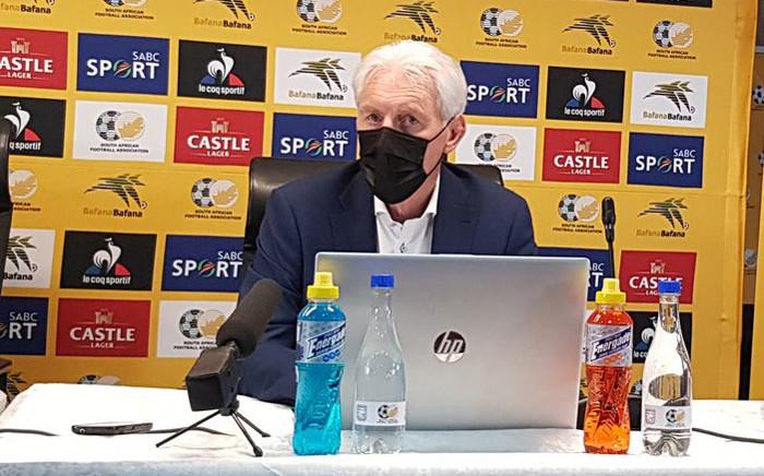 Bafana Bafana head coach Hugo Broos during a press conference on 12 May 2021. Picture: @BafanaBafana/Twitter