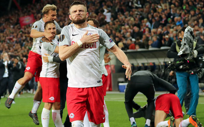 Salzburg players celebrate victory in their UEFA Europa League match. Picture: @EuropaLeague/Twitter