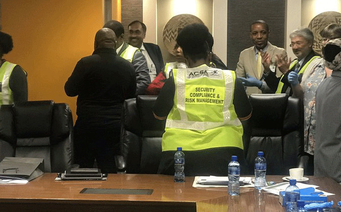 Members of the parliamentary health portfolio committee at the OR Tambo International Airport on 6 March 2020 to assessing facilities used to detect suspected coronavirus cases. Picture: Bonga Dlulane/EWN.