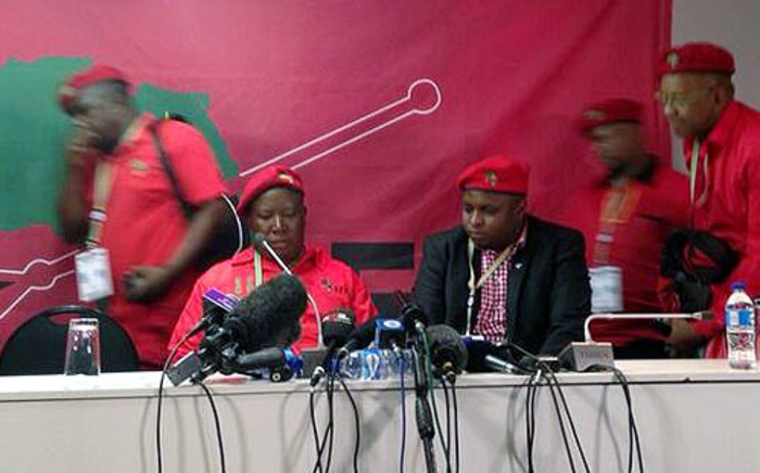 EFF leaders Julius Malema, Floyd Shivambu and Dali Mpofu address media at the IEC national election results centre in Pretoria on 10 May 2014. Picture: Masego Rahlaga/EWN.