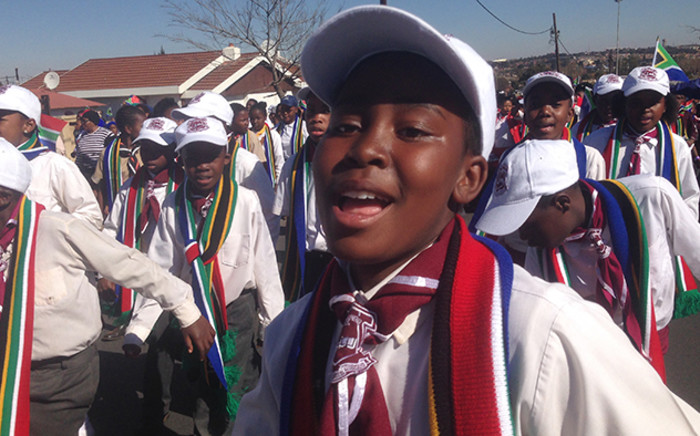 Youngsters march through the streets of Soweto in a Youth Day commemoration event, Picture: Vumani Mkhize/EWN.