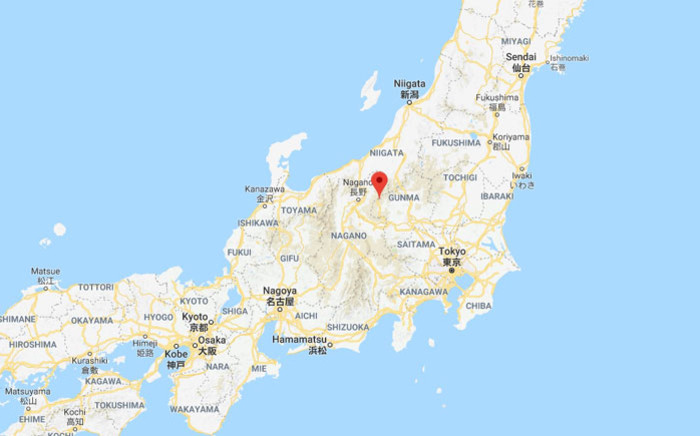 A map of Japan showing where the Kusatsu-Shirane volcano erupted. Picture: Google.