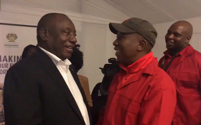 President Cyril Ramaphosa congratulates EFF leader Julius Malema on his party's performance in the elections. Picture: @EFFSouthAfrica/Twitter