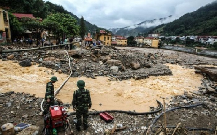 Floods in northern Vietnam have killed 26 people and washed away hundreds of homes. Picture: Twitter.