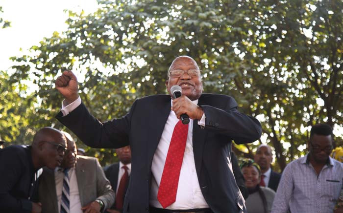 Former President Jacob Zuma addressing supporters following his appearance at the Pietermaritzburg High Court on 27 July. Picture: Bertram Malgas/EWN.