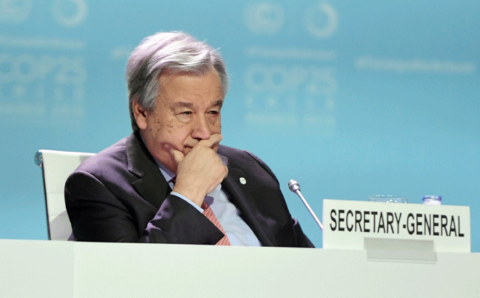 FILE: Secretary-General of the United Nations Antonio Guterres takes part in the Global Climate Action High-Level event at the UN Climate Change Conference COP25 at the 'IFEMA - Feria de Madrid' exhibition centre, in Madrid, on 11 December 2019. Picture: AFP
