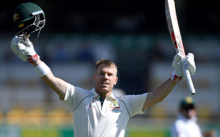 Australia's David Warner celebrates scoring 150 during day two of the first Test against Pakistan at the Gabba in Brisbane on 22 November 2019. Picture: @cricketcomau/Twitter