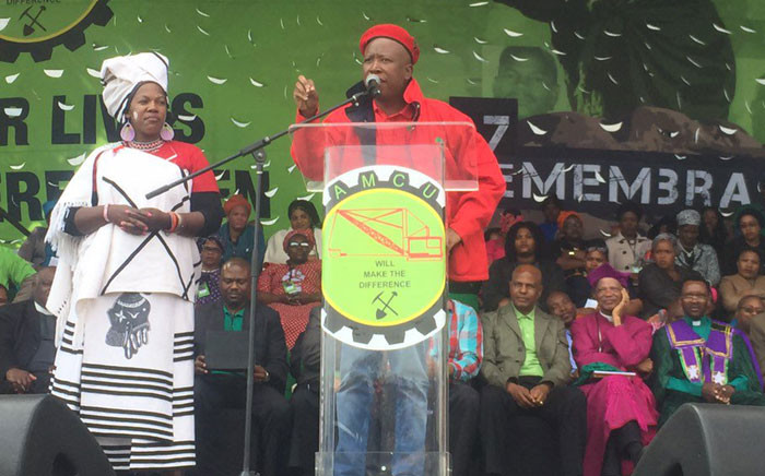 Julius Malema addresses thousands gathered in Marikana, North West for a commemoration service of the 2012 massacre. Picture: Gia Nicolaides/EWN