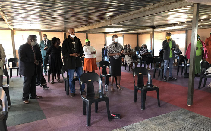 Community leaders and residents of the Waterworks informal settlement in Lenasia attend the funeral of Thabiso Mokhele from Lesotho on 5 August 2020. Picture: Nthakoana Ngatane/EWN