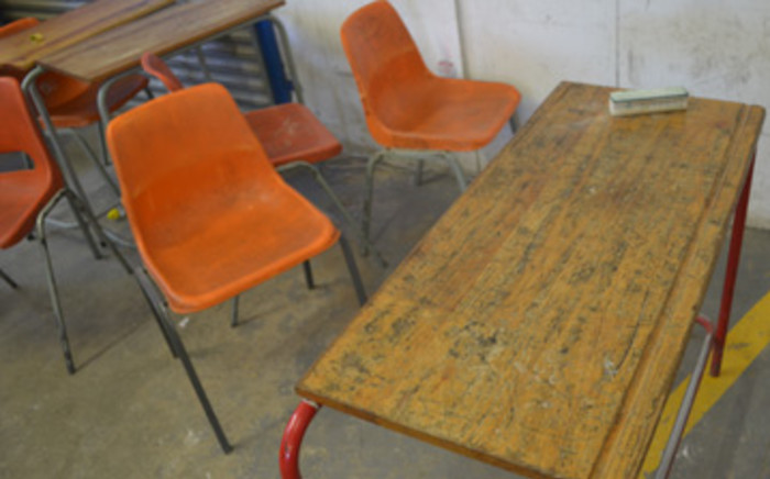 Desk and chairs at high school. Picture: Tshepo Lesole