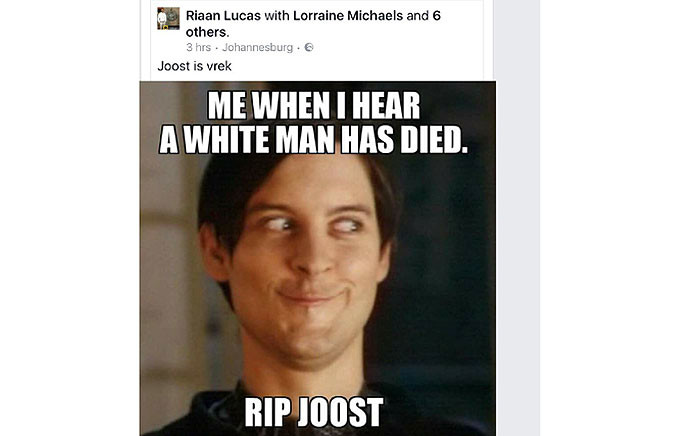 A meme posted following Joost van der Westhuizen's death sparked outrage on social media. Picture: facebook.com