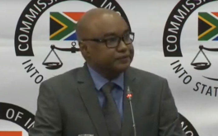 A screengrab of former ANN7 editor Rajesh Sundaram appearing at the state capture inquiry on 3 June 2019.