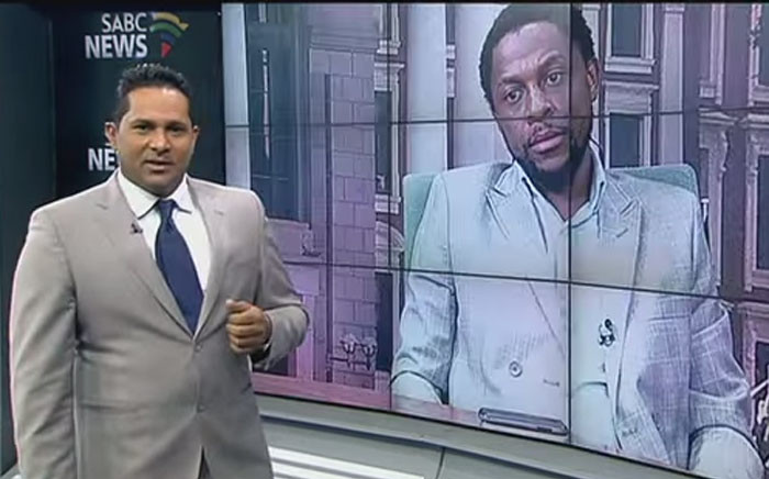 A screengrab of Eben Jansen interviewing EFF's Mbuyiseni Ndlozi on 'Newsroom' on 9 April 2015.