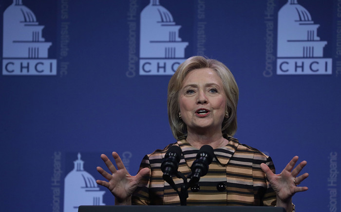Democratic presidential nominee Hillary Clinton speaks during the 39th annual awards gala of the Congressional Hispanic Caucus Institute (CHCI) 15 September, 2016 in Washington, DC. Picture: AFP.