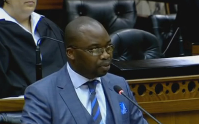 A YouTube screengrab of Justice Minister Michael Masutha in Parliament.