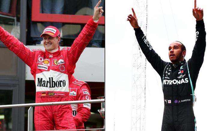 Michael Schumacher (L) and Lewis Hamilton (R). Picture: @F1/Twitter