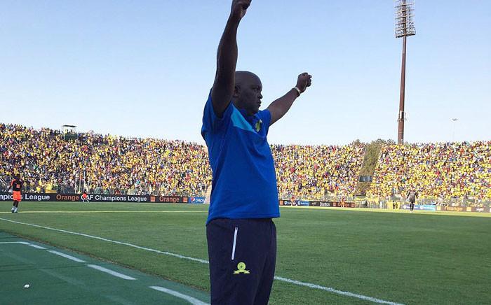 FILE: Mamelodi Sundowns coach Pitso Mosimane celebrates after his team won against Egypt's Zamalek, at the CAF final at the Lucas Moripe Stadium near Pretoria on 15 October 2016. Picture: Sundowns Twitter: @Masandawana