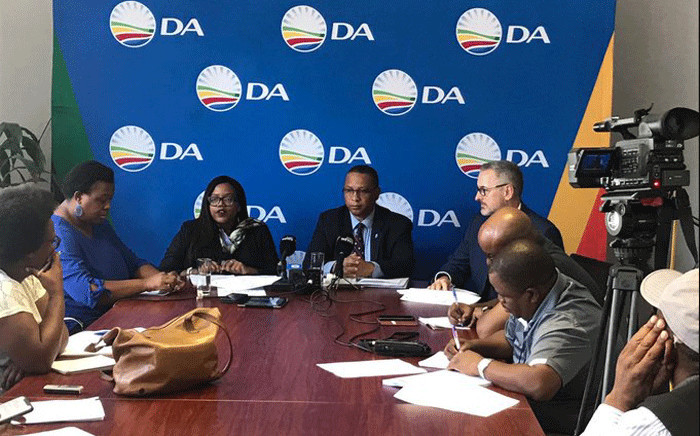 DA head of policy Gwen Ngwenya and other party members at a briefing on 28 February 2020. Picture: @Our_DA/Twitter.