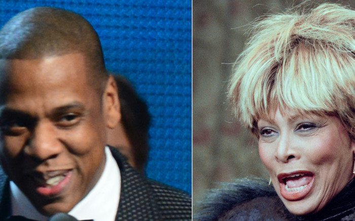 This combination of pictures created on 12 May 2021 shows Winner For Best Rap/Sung Collaboration Jay Z during the 56th Grammy Awards at the Staples Center in Los Angeles, California, January 26, 2014, and US singer Tina Turner presenting her single 'GoldenEye' for the James Bond film of the same name in Paris on November 22, 1995. Picture: AFP