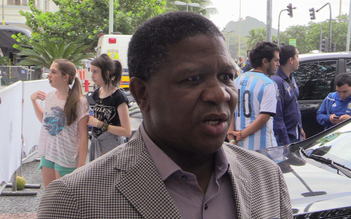 Sports Minister Fikile Mbalula speaks to EWN's Marc Lewis in Rio de Janeiro on 13 July 2014. Picture: Christa Eybers/EWN.