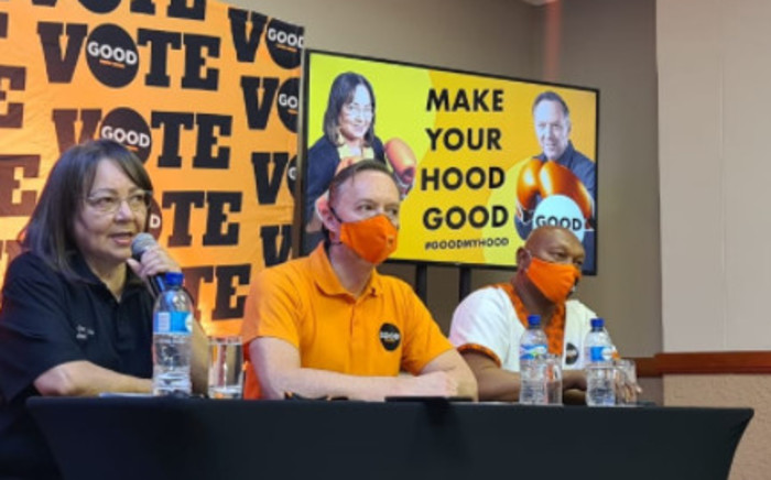 Good Party leaders in Cape Town press conference on Sunday 22 August 2021 where party leader, Patricia de Lille announced Brett Herron (centre) as the mayoral candidate for the City of Cape Town in the 2021 local government elections. Picture: Twitter/@ForGoodZA