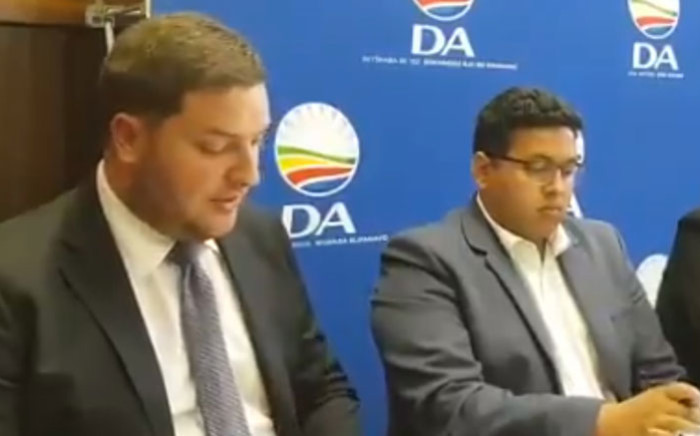 DA finance spokesperson Geordin Hill-Lewis (left) at a media briefing on the coronavirus on 17 March 2020. Picture: @Our_DA/Twitter