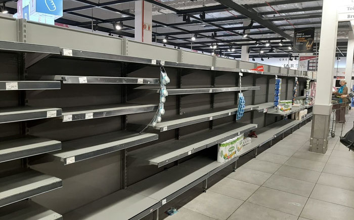 Empty shelves at a Pick n Pay store in Cape Town on 17 March 2020. Picture: Supplied
