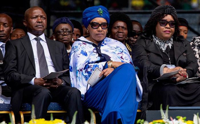 Deputy president David Mabuza is seen alongside Zenani and Zindzi Mandela during the memorial service for the late Winnie Madikizela Mandela at Orlando Stadium on Wednesday 11 April 2018. Picture: Ihsaan Haffejee/EWN