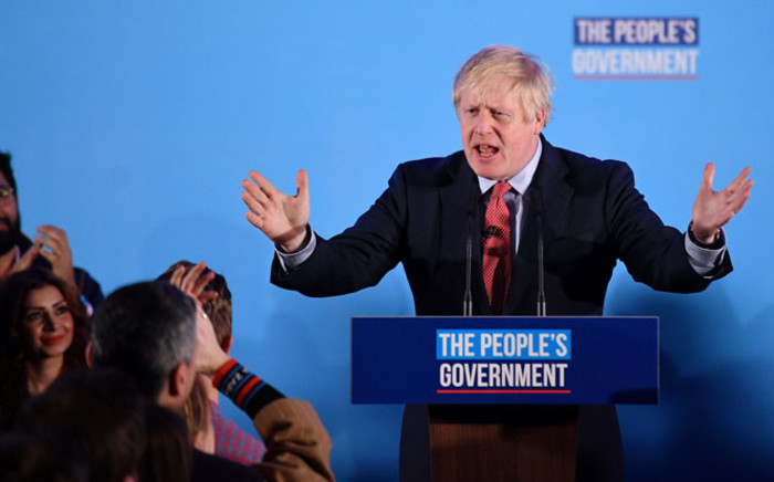Britain's Prime Minister and leader of the Conservative Party, Boris Johnson, speaks during a campaign event to celebrate the result of the General Election, in central London on 13 December 2019. Picture: AFP