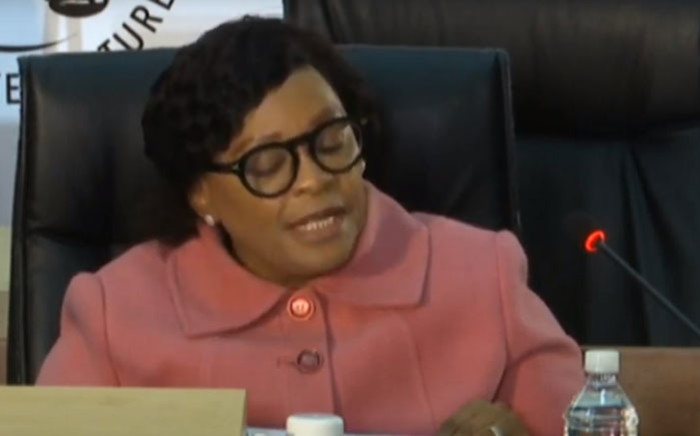 A screengrab of Nomvula Mokonyane giving testimony at the Zondo Commision on 20 July 2020. Picture: SABC