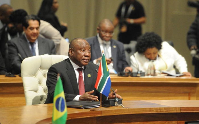President Cyril Ramaphosa chairing the open session with BRICS Heads of State & Government at the 10th BRICS Summit in Sandton, Johannesburg. Picture: @PresidencyZA/Twitter