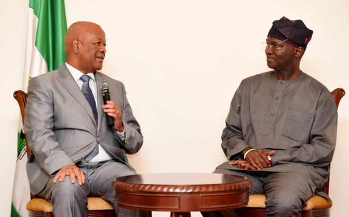 Minister in the Presidency Jeff Radebe meets with the Governor of Lagos State Babatunde Raji Fashola at Marina House Lagos, Nigeria on 12 November 2014. Picture: GCIS.