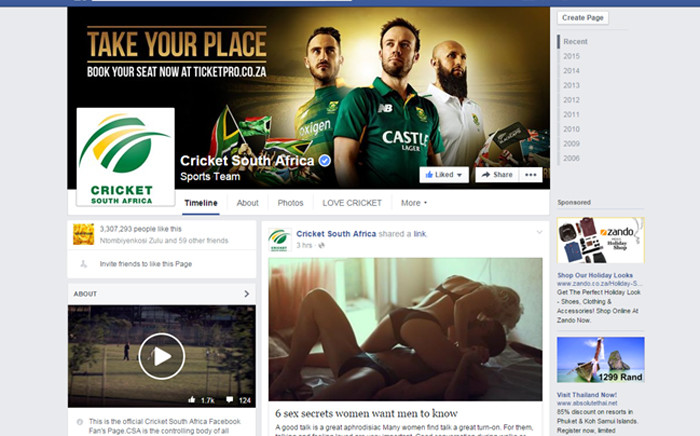 Cricket South Africa's Facebook page has been hacked.