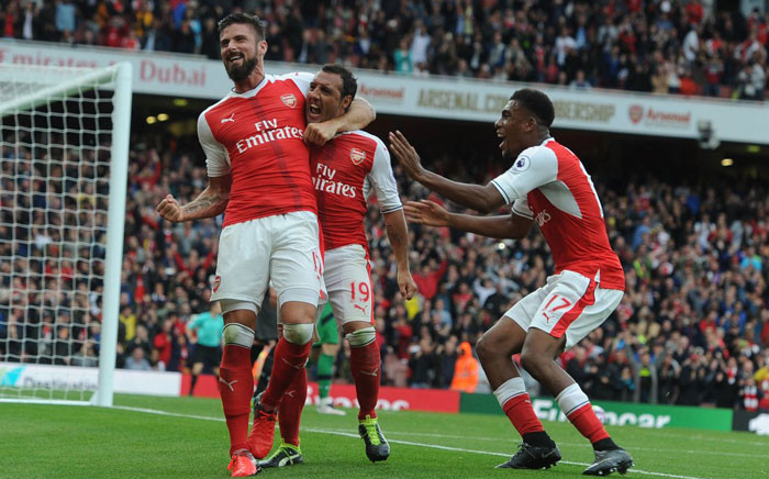 Arsenal players celebrate. Picture: @Arsenal.