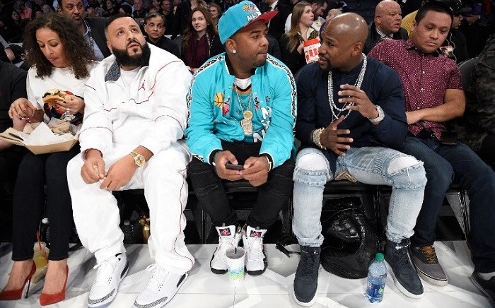 FILE: DJ Khaled (second from left) and Floyd Mayweather (second from right) and guests attend the 2018 Taco Bell Skills Challenge at Staples Center on 17 February 2018 in Los Angeles, California. Picture: AFP