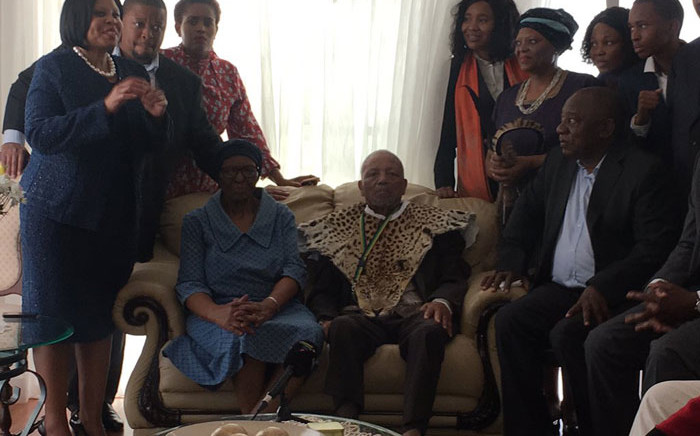 FILE: President Cyril Ramaphosa and the ANC leadership at the house of stalwart John Nkadimeng (seated right) in Johannesburg on 15 April 2019. Picture: Kgomotso Modise/EWN