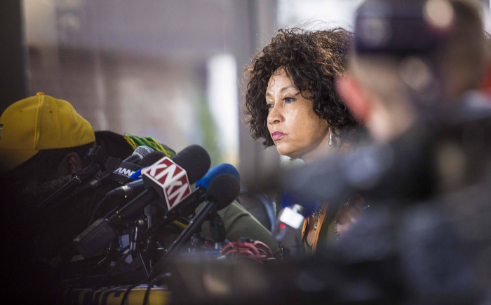 Minister of Human Settlements Lindiwe Sisulu addresses members of the media at the ANC national policy conference on 5 July 2017. Picture: Thomas Holder/EWN