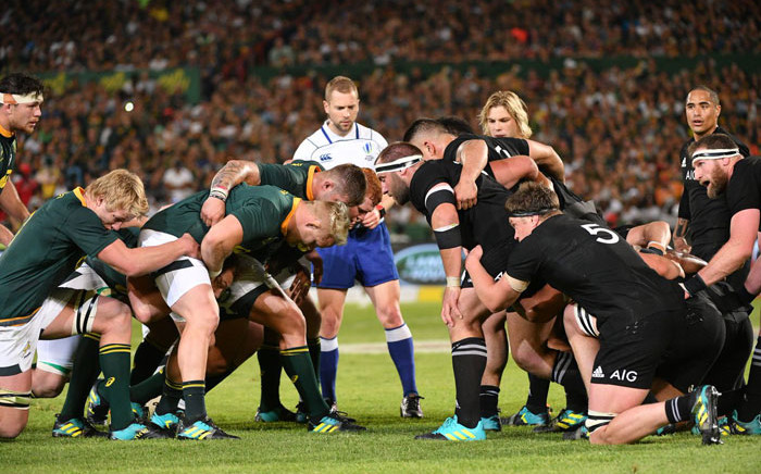 FILE: The Springbpks and the All Blacks get ready to scrum down in their Rugby Championship match at the Loftus Versfeld Stadium in Pretoria on 6 October 2018. Picture: @Springboks/Twitter