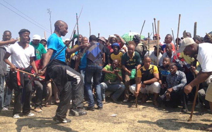 Striking miners in Rustenburg. Picture:  Picture: Govan Whittles/EWN.