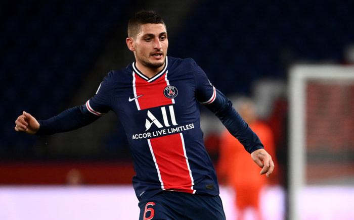Paris Saint-Germain midfielder Marco Verratti plays the ball during the French L1 football match between Paris Saint-Germain (PSG) and Angers (SCO) at the Parc des Princes stadium in Paris on 2 October 2020. Picture: AFP