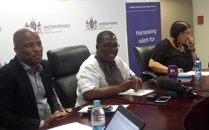 FILE: Gauteng Education MEC Panyaza Lesufi (centre) briefs media on his department's readiness for the 2017 academic year. Picture: Twitter/@EducationGP.