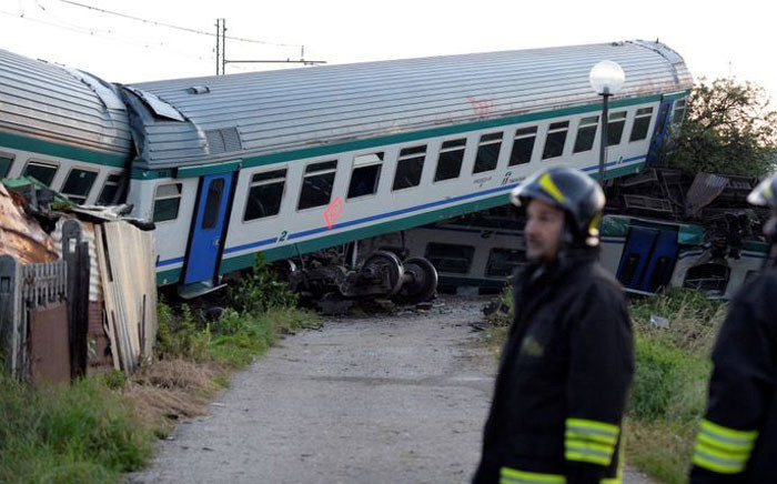 The drivers of both the train and a vehicle accompanying the HGV, which was carrying an exceptional load, were killed. Picture: Twitter