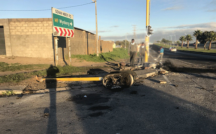 A  traffic light was damaged during protests in the Gugulethu area on Friday 25 May 2018. Picture: Shamiela Fisher/EWN